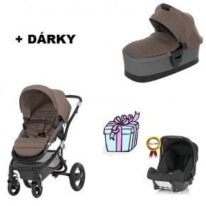 kočárek BRITAX RÖMER AFFINITY včetně korby AFFINITY 2014 + DÁREK autosedačka BABY SAFE plus - fossil brown