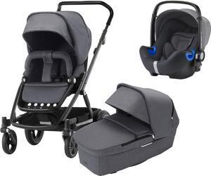 Kočárek BRITAX RÖMER GO Next 2 Premium Line 2018 + autosedačka Baby-Safe i-Size ZDARMA, graphite melange