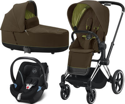 Kočárek CYBEX Set Priam Chrome Black Seat Pack 2021 včetně Aton 5, khaki green - 1