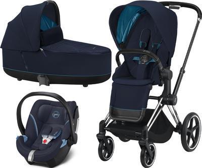 Kočárek CYBEX Set Priam Chrome Black Seat Pack 2021 včetně Aton 5, nautical blue - 1