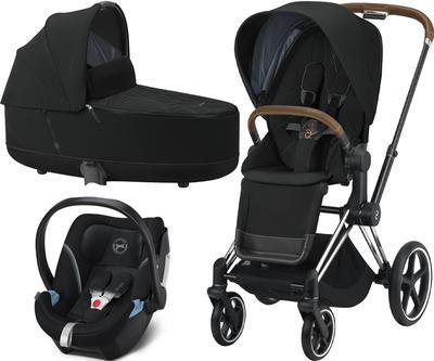 Kočárek CYBEX Set Priam Chrome Brown Seat Pack 2021 včetně Aton 5, deep black - 1