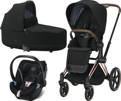 Kočárek CYBEX Set Priam Rosegold Seat Pack 2021 včetně Aton 5, deep black - 1