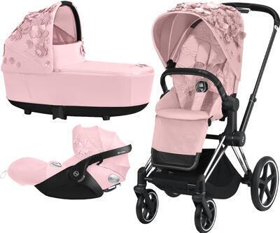 Kočárek CYBEX Set Priam Lux Seat FashionSimply Flowers Collection 2021 včetně autosedačky, light pink/podvozek priam chrome black - 1