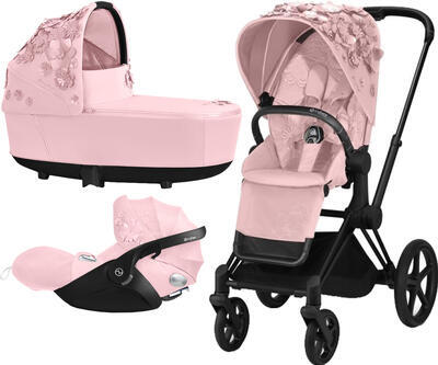 Kočárek CYBEX Set Priam Lux Seat FashionSimply Flowers Collection 2021 včetně autosedačky, light pink/podvozek priam matt black - 1
