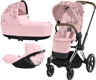 Kočárek CYBEX Set Priam Lux Seat FashionSimply Flowers Collection 2021 včetně autosedačky, light pink/podvozek priam chrome brown - 1