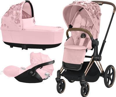 Kočárek CYBEX Set Priam Lux Seat FashionSimply Flowers Collection 2021 včetně autosedačky, light pink/podvozek priam rosegold - 1