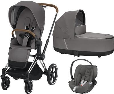 Kočárek CYBEX Set Priam Chrome Brown Seat Pack 2019 včetně Cloud Z i-Size, manhattan grey - 1