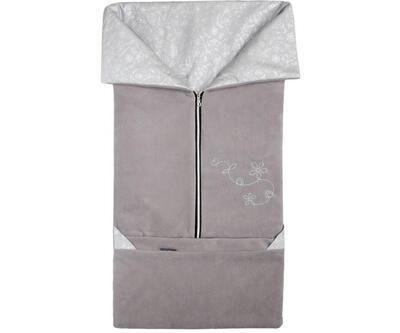 Fusak EMITEX Fanda 2v1 fleece s bavlnou 2020, tmavě šedá + světle šedá - stříbrné kytky - 1