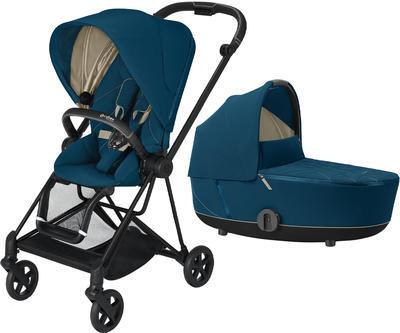Kočárek CYBEX Mios Matt Black Seat Pack 2021 včetně korby, mountain blue - 1