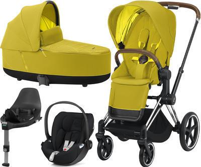 Kočárek CYBEX Set Priam Chrome Brown Seat Pack 2021 včetně Cloud Z i-Size a base Z, mustard yellow - 1