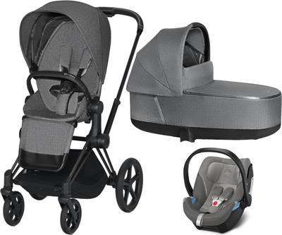Kočárek CYBEX Set Priam Matt Black Seat Pack PLUS 2021  včetně Aton 5, manhattan grey - 1
