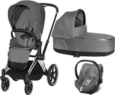 Kočárek CYBEX Set Priam Chrome Black Seat Pack PLUS 2021  včetně Aton 5, manhattan grey - 1