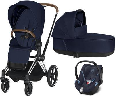 Kočárek CYBEX Set Priam Chrome Brown Seat Pack PLUS 2021  včetně Aton 5, midnight blue - 1