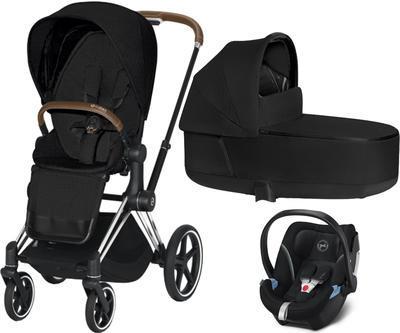 Kočárek CYBEX Set Priam Chrome Brown Seat Pack PLUS 2020  včetně Aton 5, stardust black - 1