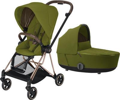 Kočárek CYBEX Mios Rosegold Seat Pack 2021 včetně korby, khaki green - 1