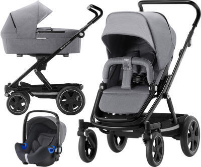Kočárek BRITAX GO Big2 Premium Line 2019 včetně hluboké korby + autosedačka Baby-Safe i-Size ZDARMA, grey melange/black - 1
