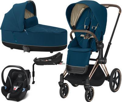 Kočárek CYBEX Set Priam Rosegold Seat Pack 2021 včetně Aton 5 a báze, mountain blue - 1