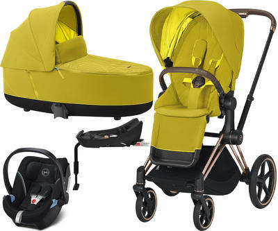 Kočárek CYBEX Set Priam Rosegold Seat Pack 2021 včetně Aton 5 a báze, mustard yellow - 1