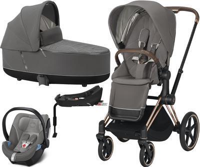 Kočárek CYBEX Set Priam Rosegold Seat Pack 2021 včetně Aton 5 a báze, soho grey - 1