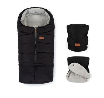 PETITE&MARS Zimní set fusak Jibot 3v1 + rukavice na kočárek Jasie 2021, black - 1