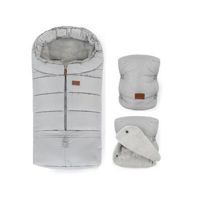 PETITE&MARS Zimní set fusak Jibot 3v1 + rukavice na kočárek Jasie 2021, steel grey - 1