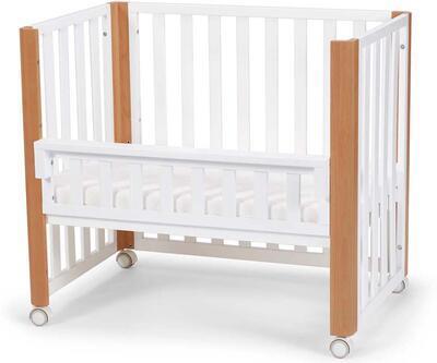 Dřevěná dětská postýlka KINDERKRAFT Koya s funkcí ohrádky včetně matrace 2021, white - 1