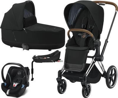 Kočárek CYBEX Set Priam Chrome Brown Seat Pack 2021 včetně Aton 5 a báze, deep black - 1