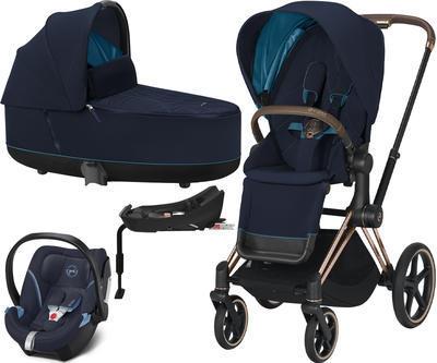 Kočárek CYBEX Set Priam Rosegold Seat Pack 2021 včetně Aton 5 a báze, nautical blue - 1