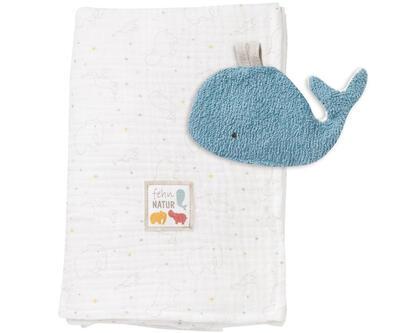 FehnNature BABY FEHN Mušelínová deka s chrastící velrybou 2021 - 1