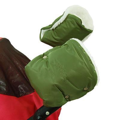 Rukávník EMITEX ke kočárku/rukavice golfové hole s kožichem 2020, khaki + 50% kožich