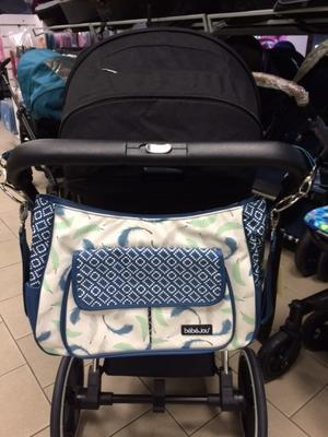 Luxusní taška na kočárek BEBE JOU Pírka modrá - 1