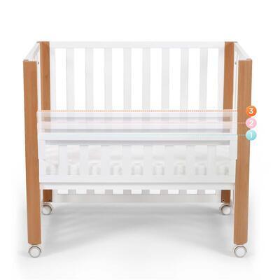 Dřevěná dětská postýlka KINDERKRAFT Koya s funkcí ohrádky včetně matrace 2021, white - 2
