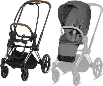 Kočárek CYBEX Set Priam Chrome Black Seat Pack PLUS 2021  včetně Aton 5, manhattan grey - 2
