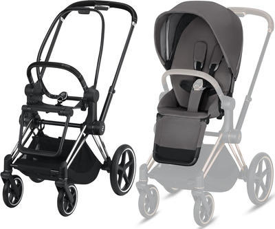 Kočárek CYBEX Set Priam Chrome Black Seat Pack 2019 včetně Cloud Z i-Size, manhattan grey - 2