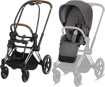 Kočárek CYBEX Set Priam Chrome Brown Seat Pack 2019 včetně Cloud Z i-Size, manhattan grey - 2