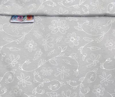 Fusak EMITEX Bary 2v1 bavlna 2021, světle šedá - stříbrná potisk kytky - 2