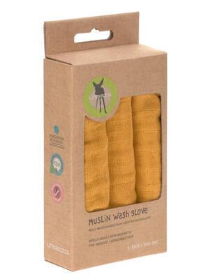 Mycí rukacive LÄSSIG Muslin Wash Glove Set 3 pcs 2021, mustard - 3