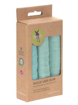 Mycí rukacive LÄSSIG Muslin Wash Glove Set 3 pcs 2021, mint - 3