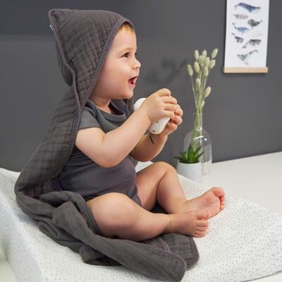Ručník s kapucí LÄSSIG Muslin Hooded Towel 2021, anthracite - 3