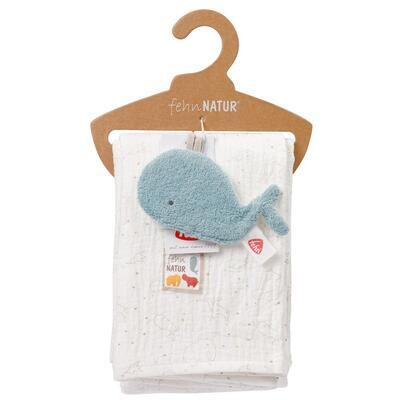 FehnNature BABY FEHN Mušelínová deka s chrastící velrybou 2021 - 4
