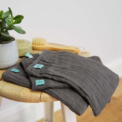 Mycí rukacive LÄSSIG Muslin Wash Glove Set 3 pcs 2021, anthracite - 4