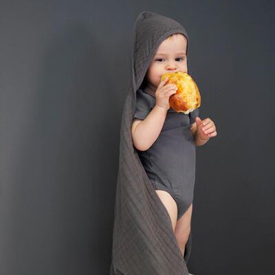 Ručník s kapucí LÄSSIG Muslin Hooded Towel 2021, anthracite - 4