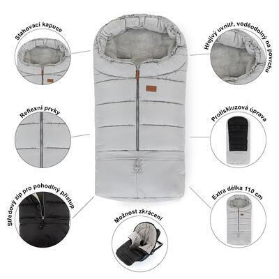 PETITE&MARS Zimní set fusak Jibot 3v1 + rukavice na kočárek Jasie 2021, steel grey - 5