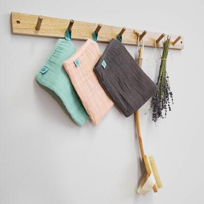 Mycí rukacive LÄSSIG Muslin Wash Glove Set 3 pcs 2021, rosewood - 5