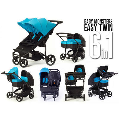 Kočárek BABY MONSTERS Easy Twin Black Colour Pack 2020 - 7