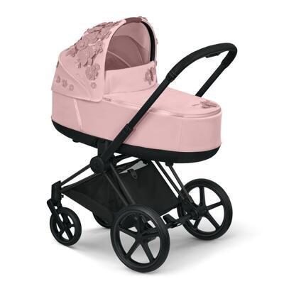Kočárek CYBEX Set Priam Lux Seat FashionSimply Flowers Collection 2021 včetně autosedačky, light pink/podvozek priam rosegold - 7